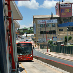 The dedicated lanes for the Rea Vaya buses