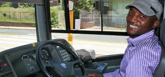 Thabo Sekatane is at ease behind the wheel of the Rea Vaya bus