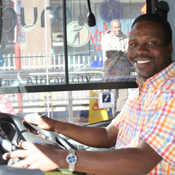 Bus driver Cloepers Gcaba makes passengers feel welcome