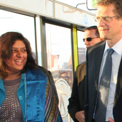Joburg's portfolio head of transport, Rehana Moosajee, welcomes FIFA's Jerome Valcke aboard Rea Vaya