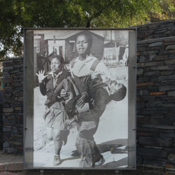 Sam Nzima's famous photograph outside the Hector Pieterson Museum and Memorial