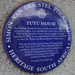 The heritage plaque outside Archbishop Emeritus Desmond Tutu's former home in Vilakazi Street, Soweto
